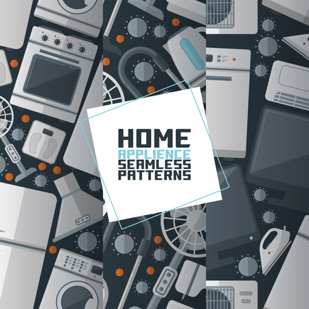 Household appliances electronic seamless pattern vector kitchen homeappliance for house backdrop set refrigerator washing machine in appliancestore illustration background.