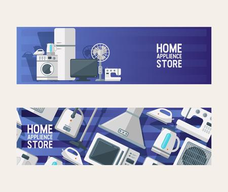 Electrodomésticos electrónicos de patrones sin fisuras vector cocina electrodomésticos para el telón de fondo de la casa establece la lavadora del refrigerador en el fondo de la ilustración de la tienda de electrodomésticos. Ilustración de vector