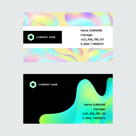 Holographic vector hologram business card foil texture and irregularities illustration backdrop set in blue pink green colors with scratches abstract business-card background Ilustração