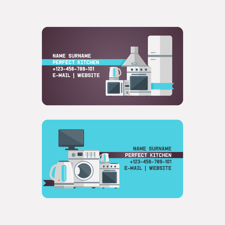 Household appliances electronic business card vector kitchen homeappliance for house backdrop set refrigerator washing machine in appliancestore illustration business-card background.
