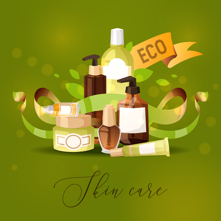 Eco cosmetic product vector skincare bio cream bottle template and tube container mockup for ecological cosmetology illustration backdrop of branded lotion package background.