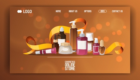 Eco cosmetic product vector web page skincare bio cream bottle template and tube container mockup for ecological cosmetology illustration backdrop of branded lotion package web landing-page background