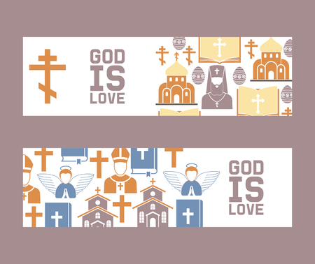 Religion vector catholic church or cathedral and religious sings of christianity illustration backdrop set of christian cross bible with sign Jesus love you background