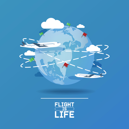 Plane around world vector aircraft airplane jet flight transportation flying to airport illustration aviation backdrop of aeroplane airliner traveling banner flag pinned on world map background.