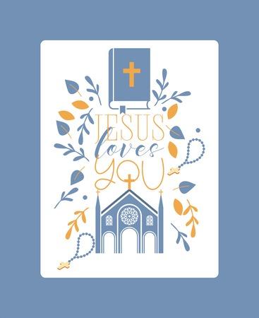 Religion vecteur église catholique ou cathédrale et religieux chante du christianisme illustration toile de fond de la bible chrétienne croisée avec signe Jésus t'aime arrière-plan