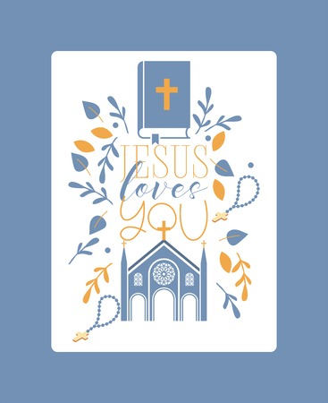 Religion vector catholic church or cathedral and religious sings of christianity illustration backdrop of christian cross bible with sign Jesus love you background Illustration