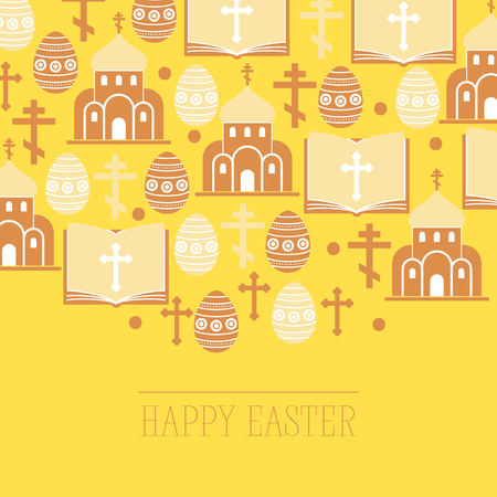Religion vector pattern catholic church or cathedral and religious sings of christianity illustration backdrop set of christian cross bible with sign easter eggs background