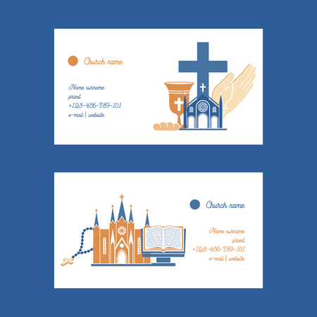 Religion vector catholic church or cathedral and religious sings of christianity illustration backdrop set of christian cross bible with sign business card background Ilustracja