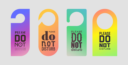 Door hanger vector sign do not disturb tag on closed room door at hotel illustration backdrop set of warning privacy card message hanging on doorhandle background.