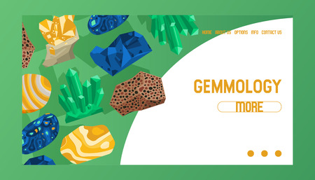 Gem vector web page crystalline stone precious crystal gemstone for jewellery illustration backdrop of jewel gem mineral stony crystallization of natural quartz web-page background.