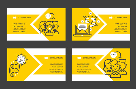 Call center vector business card people operator in headset character working in call-office to support customers illustration backdrop of business outline icons mail phone background business-card. Illustration