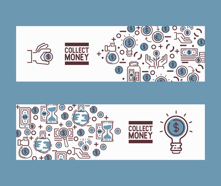 Money vector investment savings financial bank money-box set backdrop illustration piggybank moneybox with cash coins icons background. Illustration
