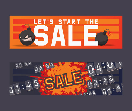 Sale vector cartoon bomb on discount banner boom explosion offer poster background shopping template of shop market with special price illustration backdrop. Stock Vector - 123665501