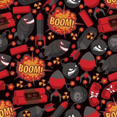 Bomb explosion seamless pattern vector weapon danger destruction boom illustration explosive backdrop of rocket character dynamite background