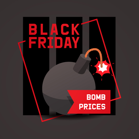 Sale vector cartoon bomb on discount banner boom explosion offer poster background shopping template of shop market with special price illustration backdrop.