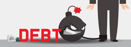 Debt vector bomb finance explosion weapon danger destruction boom financial illustration banking credit explosive backdrop of businessman character bankrupt background. Illustration