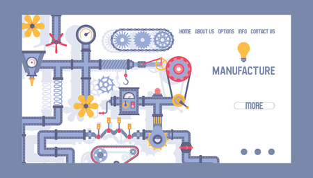Industry pattern vector web page industrial machinery engineering equipment gear fan pipe illustration technical backdrop engine technology working mechanism landing web-page background.