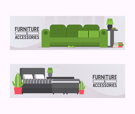 Sofa vector furniture couch seat furnished interior design of living-room at apartment home illustration backdrop furnishing set of modern armchair sofa-bed settee background.