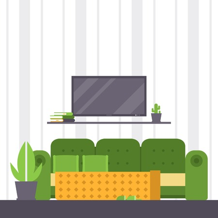 Sofa vector furniture couch seat furnished interior design of living-room at apartment home illustration furnishing backdrop of modern armchair sofa-bed settee background.