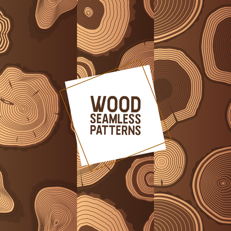 Wood vector seamless pattern wooden circle rings tree log lumbers logging trunks and hardwood timbered materials in sawmill illustration backdrop lumbering set of firewoods background. Zdjęcie Seryjne - 123496438