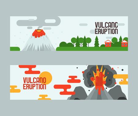 Volcán vector erupción vulcanismo explosión convulsión de naturaleza volcánica en montañas ilustración telón de fondo cartel conjunto de papel tapiz de fondo de vulcanología