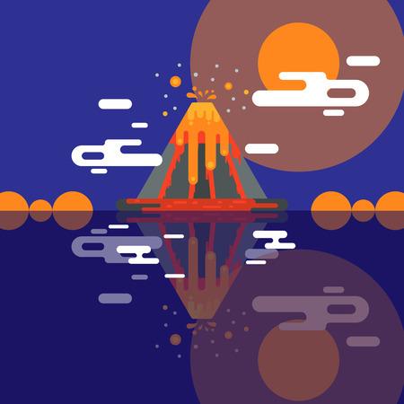 Éruption de vecteur de volcan et volcanisme ou convulsion d'explosion de nature volcanique dans les montagnes illustration toile de fond affiche de fond d'écran de volcanologie.