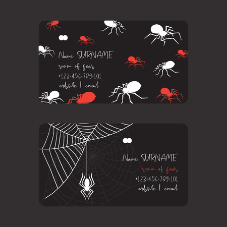 Web spider pattern vector business card spidery halloween background spiderweb cobweb horror illustration backdrop set of spider-web scary webbed net business-card. 向量圖像