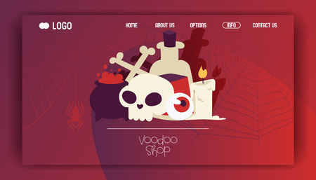 Voodoo vector web page cartoon skull in scary halloween and vampirism signs illustration of spooky evil monster candle bones web-page background