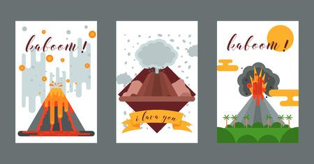 Volcano vector eruption volcanism explosion convulsion of nature volcanic in mountains illustration backdrop poster set of volcanology background wallpaper. Illustration