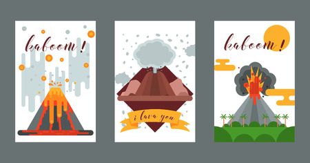 Volcano vector eruption volcanism explosion convulsion of nature volcanic in mountains illustration backdrop poster set of volcanology background wallpaper. 向量圖像