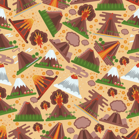 Volcano vector seamless pattern eruption volcanism explosion convulsion of nature volcanic in mountains illustration backdrop of volcanology background wallpaper