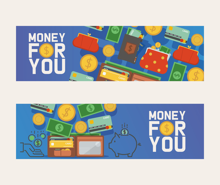 Wallet vector pattern leather purse business billfold with banknotes money illustration backdrop set of financial payment symbol coin-purse background banner. Illustration