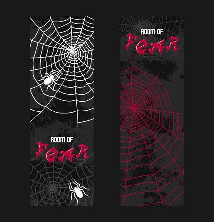 Web spider pattern vector spidery halloween background spiderweb cobweb horror illustration backdrop set of spider-web scary webbed net wallpaper. Foto de archivo - 123496446