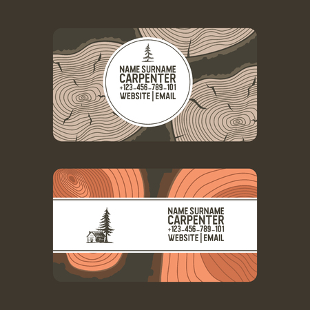 Wood vector pattern business card wooden circle rings tree log lumbers logging trunks and hardwood timbered materials in sawmill illustration backdrop lumbering set of firewoods background.