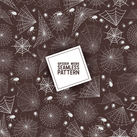 Web spider seamless pattern vector spidery halloween background spiderweb cobweb horror illustration backdrop of spider-web scary webbed net wallpaper.