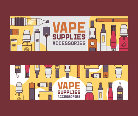 Vapor vector pattern vaping device and modern vaporizer e-cig illustration backdrop of graphic vapes and cigarette background banner. Ilustração