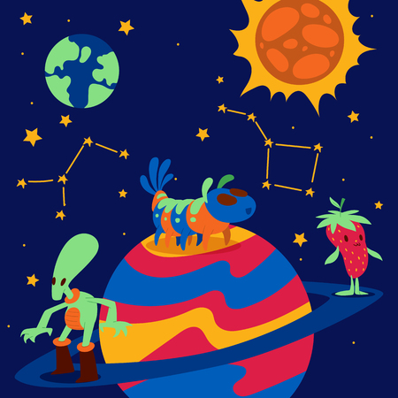 Fantastic character vector cartoon animal creature funny monster on planet earth sun illustration backdrop expressive animated mysterious alien fiction space background. Foto de archivo - 123434112