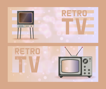 Retro TV vector old TV-broadcast vintage television screen display illustration backdrop set of tele broadcasting entertainment channel background video show media. 向量圖像