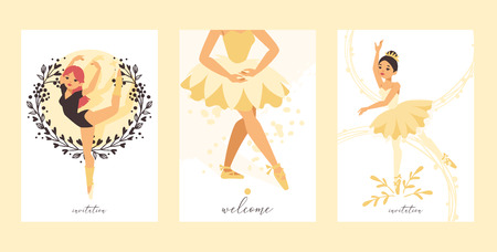 Ballet dancer vector ballerina woman character dancing in ballet-skirt tutu illustration backdrop set of classical ballet-dancer girl background wallpaper Illustration