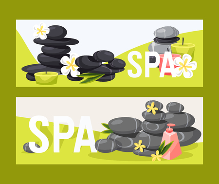 Spa stone vector zen stony therapy for beauty health and relaxation illustration backdrop set of natural stoning treatment background banner. Ilustração