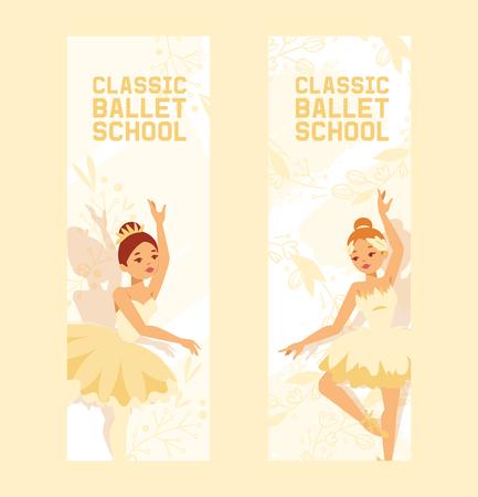 Ballet dancer vector ballerina woman character dancing in ballet-skirt tutu illustration backdrop set of classical ballet-dancer girl background wallpaper. Banque d'images - 121297586