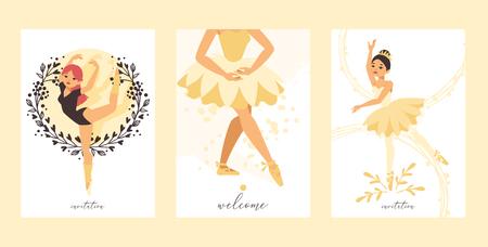 Ballet dancer vector ballerina woman character dancing in ballet-skirt tutu illustration backdrop set of classical ballet-dancer girl background wallpaper. Banque d'images - 121297587