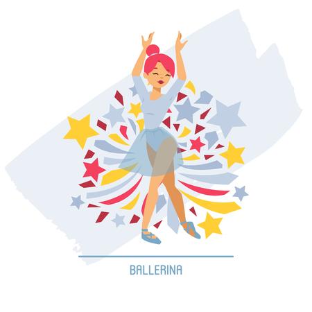 Ballet dancer vector ballerina woman character dancing in ballet-skirt tutu illustration backdrop of classical ballet-dancer girl background wallpaper. Banque d'images - 121268265