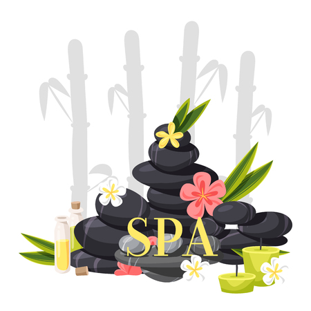 Spa stone vector zen stony therapy for beauty health and relaxation illustration backdrop of natural stoning relax treatment meditation background banner.