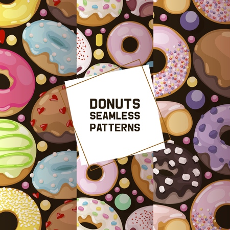 Donut vector seamless pattern doughnut food glazed sweet dessert with sugar chocolate in bakery illustration backdrop set of colorful backed dough with icing background.