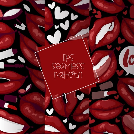 Lip vector seamless pattern cartoon beautiful red lips in kiss or smile fashion lipstick sexy mouth kissing lovely on valentines day illustration set background love heart backdrop Illustration
