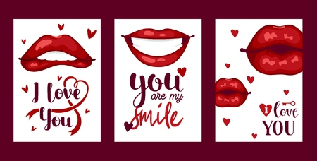 Lip vector pattern cartoon beautiful red lips in kiss or smile fashion lipstick sexy mouth kissing lovely on valentines day illustration set background love heart backdrop