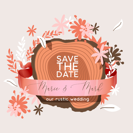 Vector wedding invitation card Save the date suite flower templates marriage wood lettering print layout design illustration.