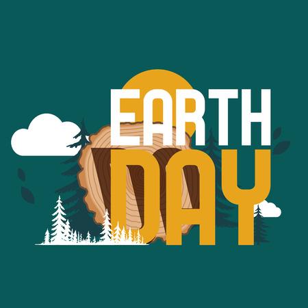 Wood Eart Day modèle vectoriel cercle en bois anneaux arbre journal bois d'œuvre troncs d'exploitation et illustration de matériaux en bois de feuillus toile de fond environnemental bois de chauffage dans le papier peint forestbackground.