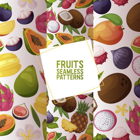 Fruits vector seamless pattern fruity apple banana and exotic papaya background fresh slices of tropical dragonfruit juicy orange illustration fruitful backdrop set Standard-Bild - 121627805